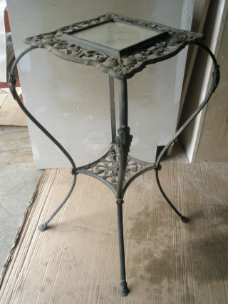 Antique Wrought Iron Table Ornate Scroll Plant Stand Leaded Glass Inset photo
