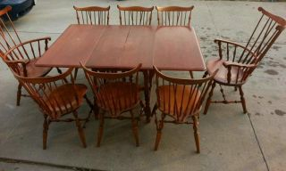 Nichols & Stone Comb Back Windsor Armchairs - Table 8 Chairs photo