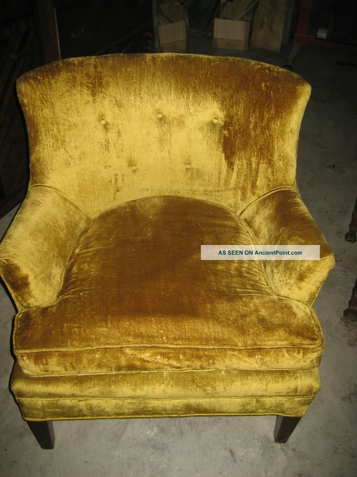 Vintage Mid Century Hollwood Regency Yellow Gold Velvet Arm Chair Art Deco - Nr Post-1950 photo