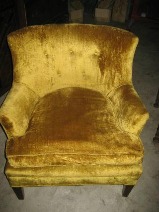 Vintage Mid Century Hollwood Regency Yellow Gold Velvet Arm Chair Art Deco - Nr photo
