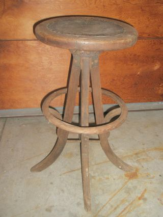 Old Architect Artist Stool Bent Wood Nail Head Leather Primitive Arts & Crafts photo