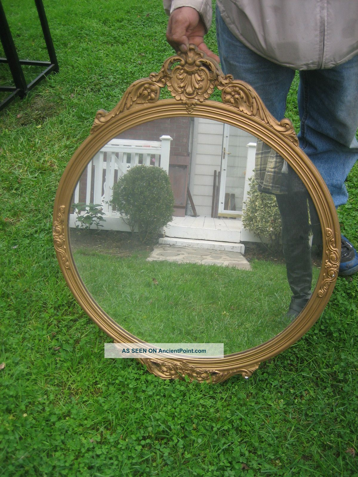 Charming French Gilt Round Mirror Circa 1930 ' S Post-1950 photo