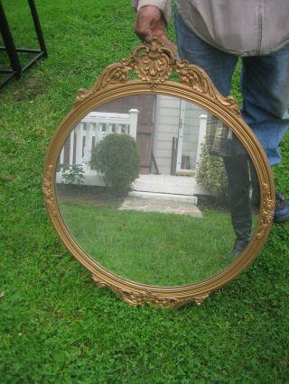 Charming French Gilt Round Mirror Circa 1930 ' S photo