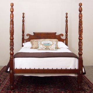 Antique Acanthus Carved Tall Post Rope Bed Queen Size photo