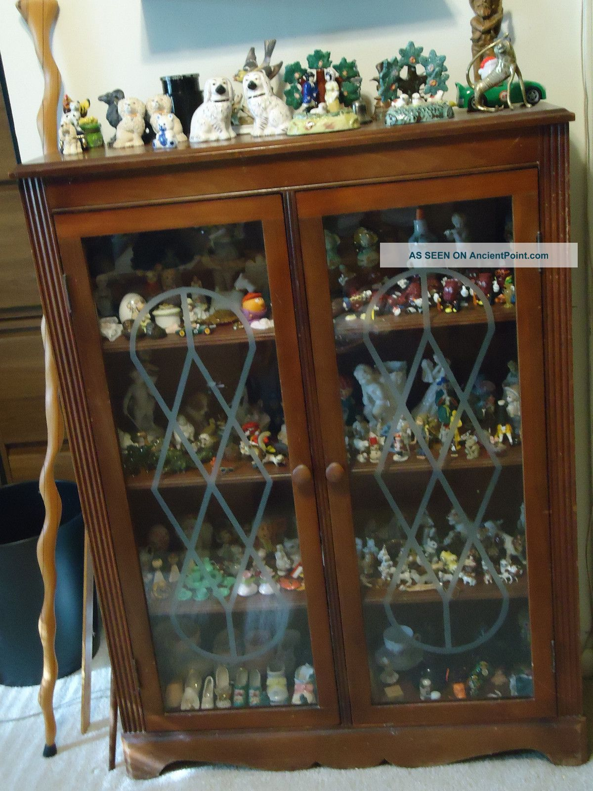 Antique One Owner Bookcase With 2 Full Glass Doors