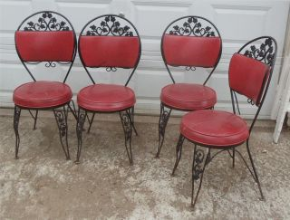 Vtg Antique Wrought Iron Padded Patio Parlor Kitchen Dining Chairs Mid Century photo