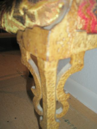 Vintage Antique Ornate Brass Metal Upholstered Piano Side Bench photo