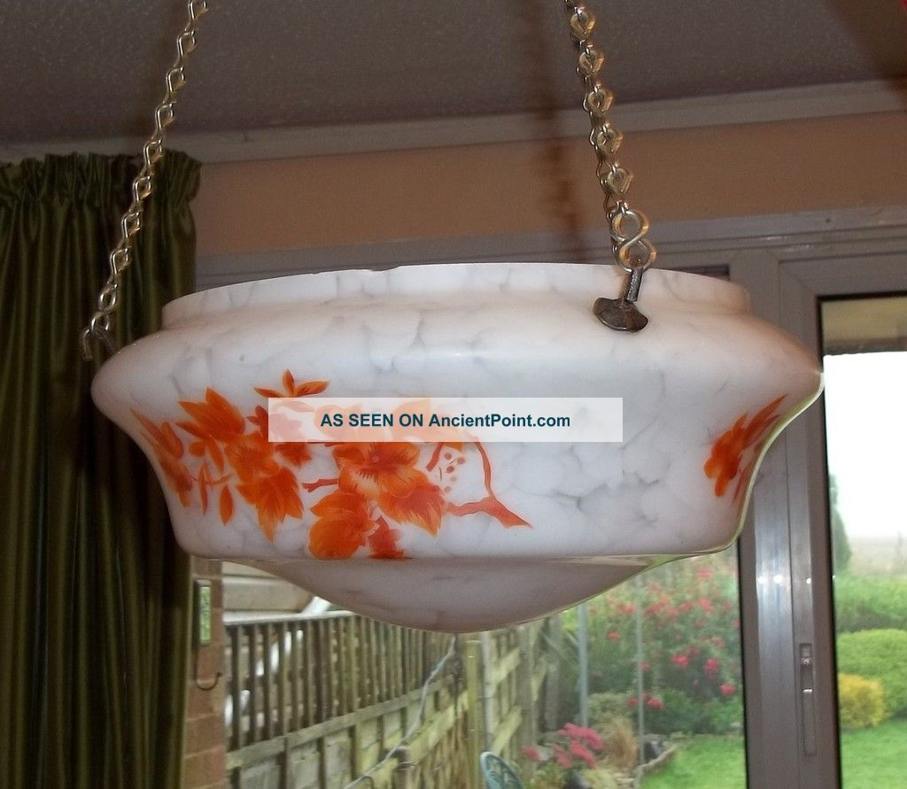 Art Deco Glass Circular Ceiling Shade,  Fitting On Chains 20th Century photo