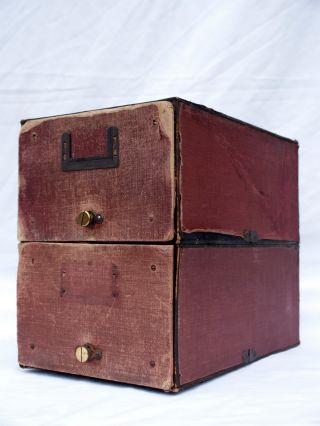 Antique Fabric Covered Oak Two Drawer Filing Cabinet By