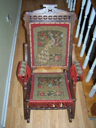 Antique Vintage Rocking Chair With Cloth Pattern Bird Solid Wood photo