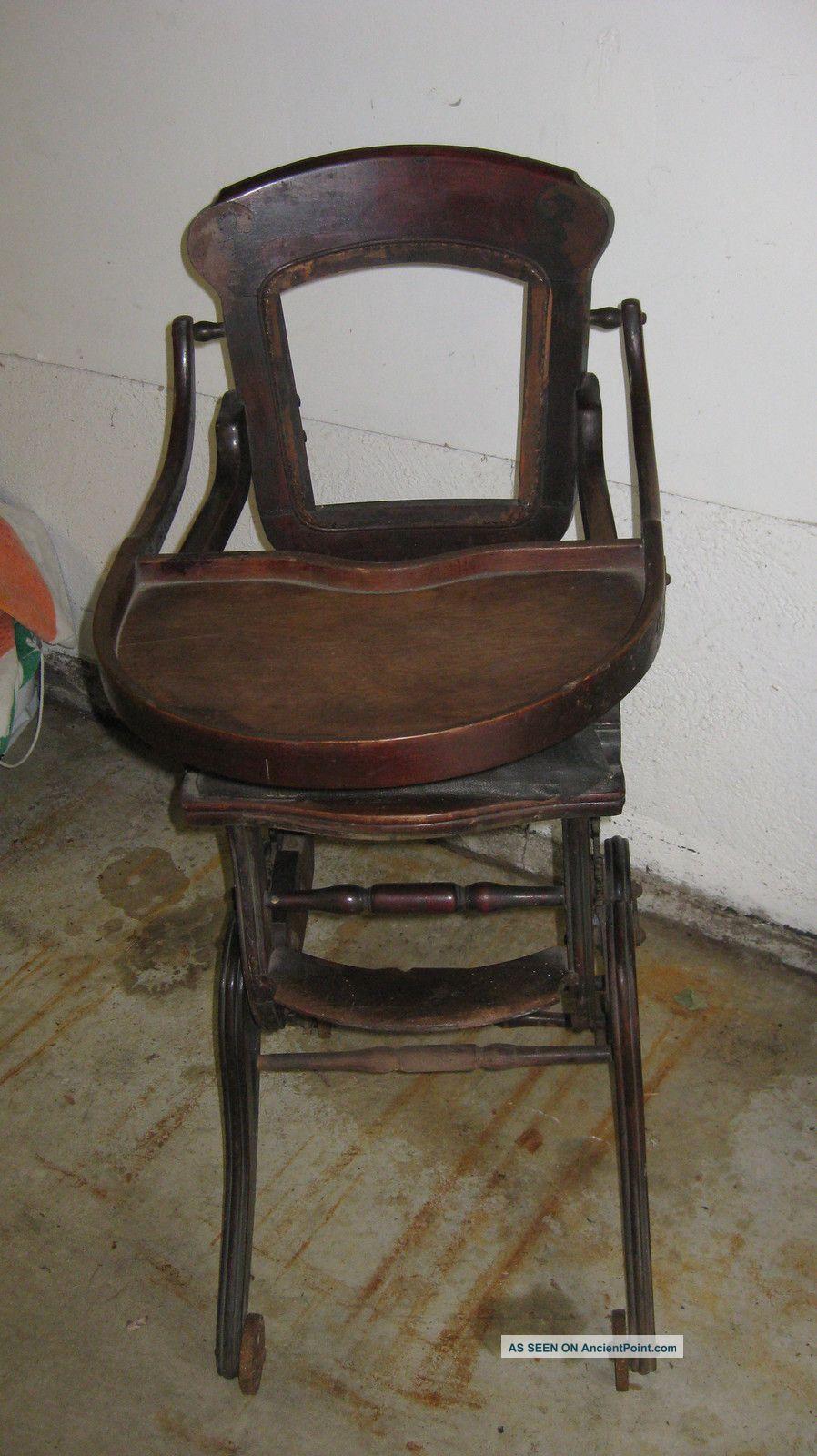 antique 1800 1899 oak cane convertible high chair rocker