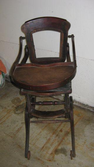 Antique Convertible High Chair / Rocker photo