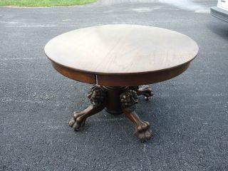 Antique Table Wood 3 Leaf 1900 ' S Claw Foot Lion Gargoyle Demon Head Old Vintage photo