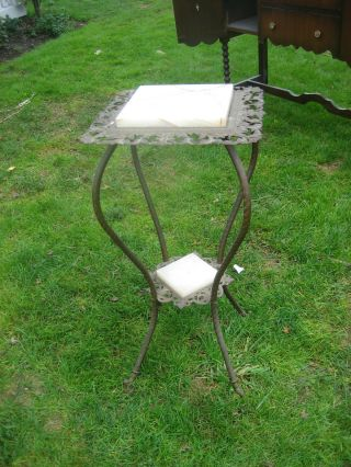 Gorgeous French Victorian Marble/metal Accent Table photo