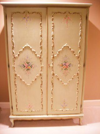 Antique French 2 Door Hand Painted 1920 ' S Armoire Wardrobe Closet Ec photo