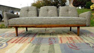 1960 ' S Vintage Sofa Walnut Wood Designer Fabric Mid Century Modern photo