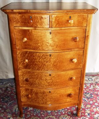 Antique Birds Eye Maple Tall 2 Over 4 Bowed Drawer Dresser photo