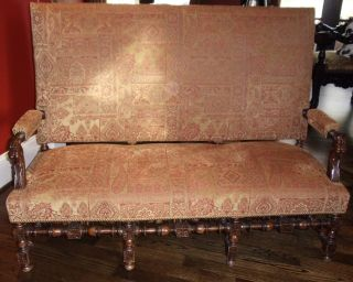 Eurpoean Antique Walnut Carved Armed Bench photo