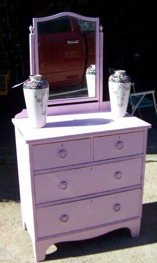 Petite Mahogany Wood Pink Dressser Old Antique Vintage Shabby Chic Furniture photo
