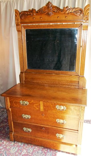 Antique Oak 2 Over 2 Drawer Dresser,  Large Framed Tilt Mirror,  Applied Carvings photo