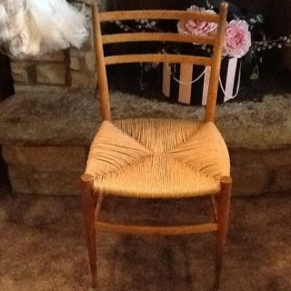 Marked Made In Italy - Antique Rush Seated One Of A Kind Chair - Local Pick Up photo