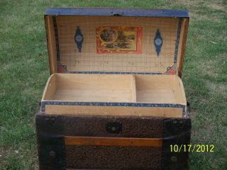 Antique Victorian Dome Top Steamer Trunk W/ Tray & Wallpaper photo
