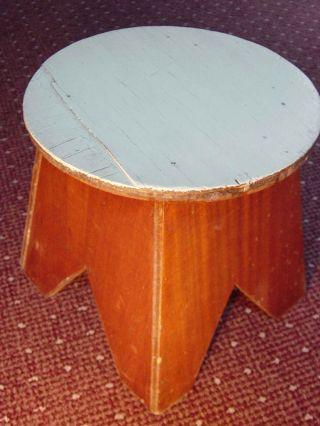 Vintage Cherry Veneer Stool Mint Green Old Paint Seat Stand Garden Art Wood Step photo