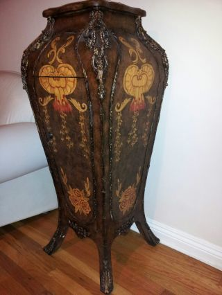 Pair French Empire Bombe Pedestal Tables Stands photo