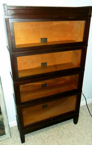 Globe Wernicke Mission Barrister Bookcase 4 Sections 300 Series Mahogany 516 1/2 photo