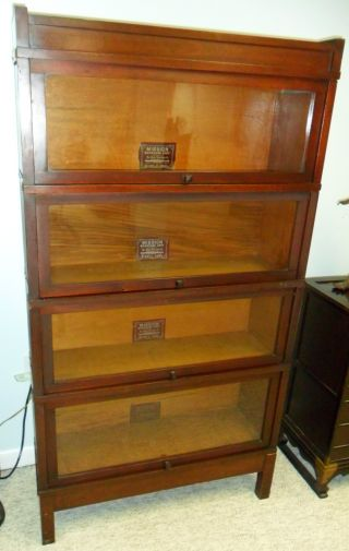 Globe Wernicke Mission Barrister Bookcase 4 Sections D Series Mahogany Stacking photo
