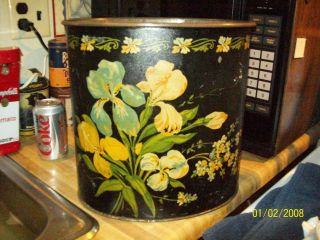 Charming Vintage 1950 ' S/60 ' S Hand Painted Tole Wastebasket photo