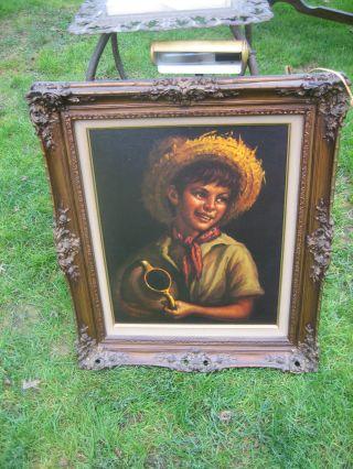 Antique French Gilt Framed Boy Picture Stunning Carved Frame photo