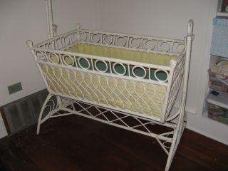Vtg Antique Wicker White Cradle Late Victorian Circa Early 1900 ' S Art Nouveau photo