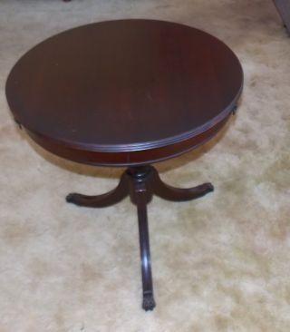 Antique R0und Pedistal Drum Table W / Drawer Untouched Excellent photo