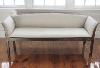 A Antique English Oak Sofa Covered In Sand Coloured Linen,  Circa 1790s photo