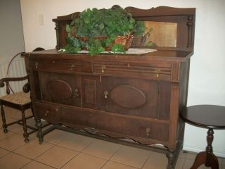 Vintage Oak Sideboard Buffet With Mirror Local Pickup Only photo