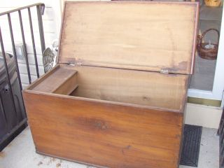 Circa 1850 ' S Primitive Doved Tailed Blanket Chest,  Yardley,  Pa photo