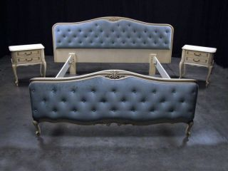 Antique French Country Baroque Tufted Upholstered Queen Bed Frame 1940 - $3400 photo