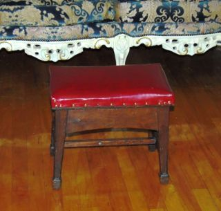 Vintage Solid Wood Red Foot Rest / Stool 18