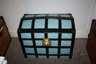 Primitive Robins Egg Blue Dome High Rise Steamer Trunk Baby Blue Chest photo