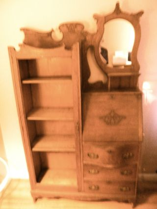 Antique Oak Secretary Desk With Bookcase photo