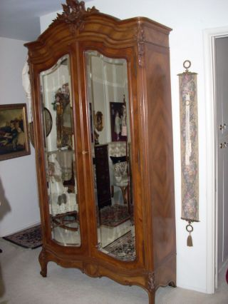 Estate Antique Armoire Wardrobe Carved Top Photo