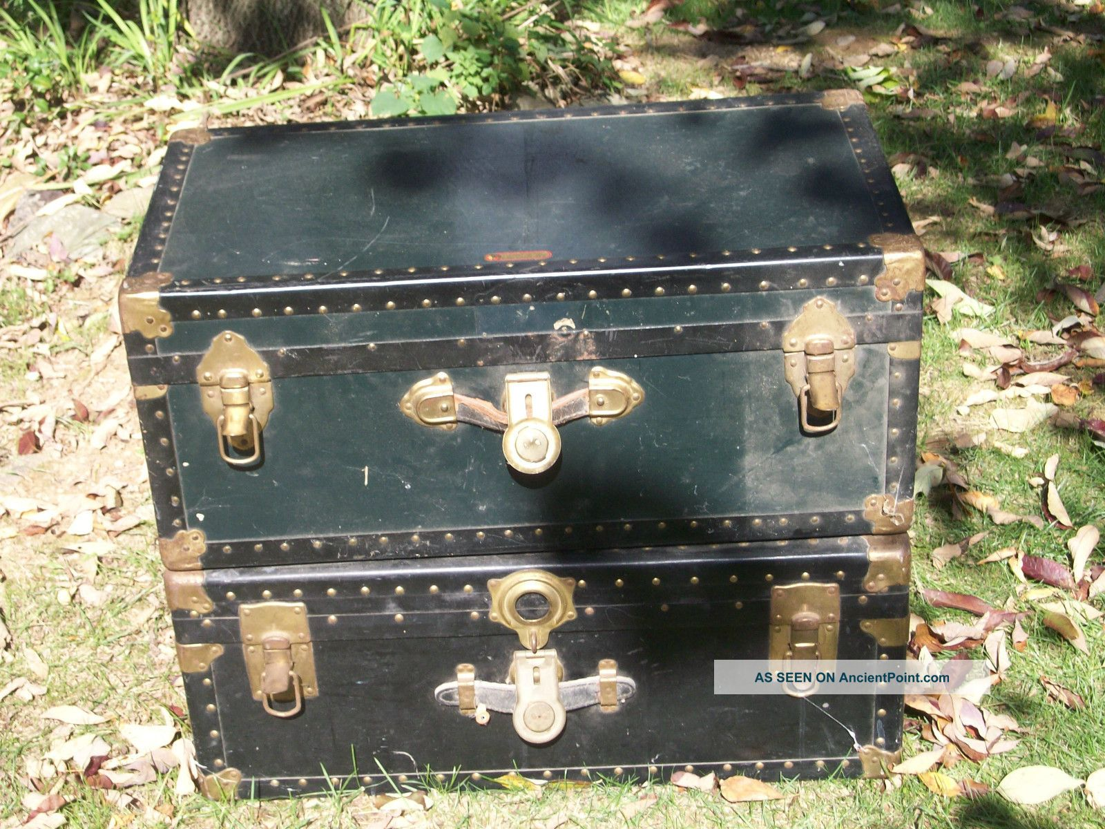 2 Antique Steamer Trunks,  Overland & National Vulcanized Fiber 1880 - 1920 ' S L@@k 1800-1899 photo
