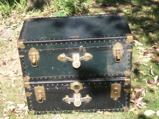 2 Antique Steamer Trunks,  Overland & National Vulcanized Fiber 1880 - 1920 ' S L@@k photo