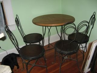 Vtg Antique Ice Cream Parlor Set Table 4 Chairs Wood Iron Dining Bistro photo