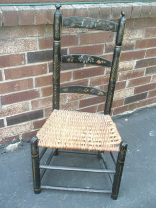Vintage Antique Child ' S Wood Spindle Chair Toleware Hand - Painted Woven Seat photo