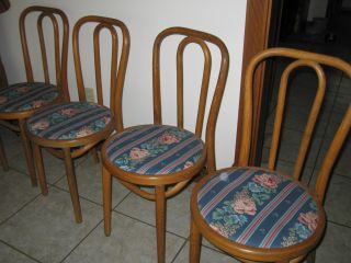 4 Vintage Wooden Ice Cream Parlor Chairs Antique photo