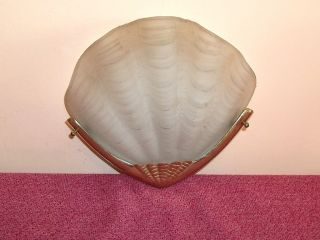 Art Deco Style Odeon Shell Style Wall Light Glass Shade With Metal Fitting photo