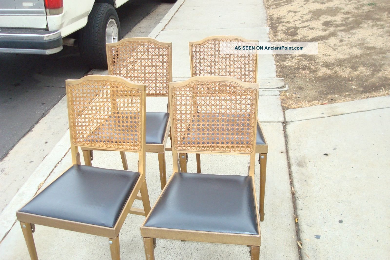 Complete Set Of Legomatic (leg - O - Matic) Folding Table And 4 Chairs Caned Backs Post-1950 photo
