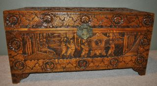 Antique Old Asian Hand Carved Ornate Trunk Made In Hong Kong photo